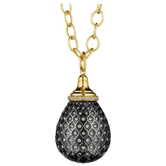 Syna Yellow Gold Oxidized Silver Drop Pendant with Champagne Diamonds