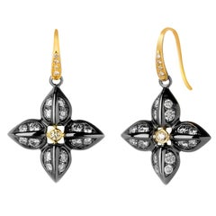 Syna Yellow Gold Oxidized Silver Love Flower Earrings
