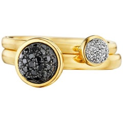 Syna Yellow Gold Pair of Stacking Rings with Black and White Diamonds