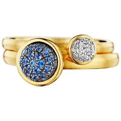 Syna Yellow Gold Pair of Stacking Rings with Blue Sapphire and Diamonds