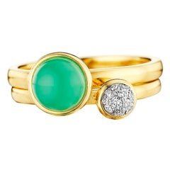 Syna Yellow Gold Pair of Stacking Rings with Chrysoprase and Diamonds