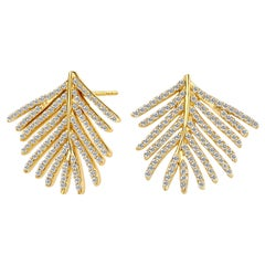 Syna Yellow Gold Palm Leaf Earrings with Champagne Diamonds