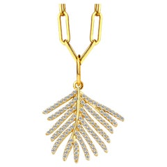 Syna Yellow Gold Palm Leaf Pendant with Champagne Diamonds