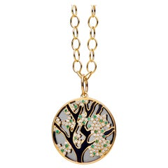 Syna Yellow Gold Pendant with Emeralds, Black Enamel and Champagne Diamonds