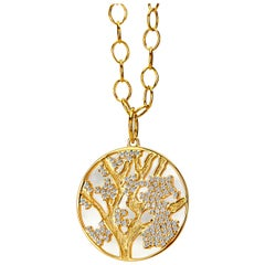 Syna Yellow Gold Pendant with Mother of Pearl and Champagne Diamonds