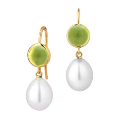 Syna Yellow Gold Peridot and South Sea Pearl Earrings