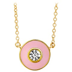 Syna Yellow Gold Pink Enamel Necklace with Champagne Diamond