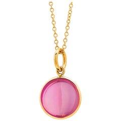 Syna Yellow Gold Pink Tourmaline Chakra Charm Pendant