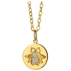 Syna Yellow Gold Queen Bee Pendant with Champagne Diamonds