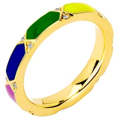 Syna Yellow Gold Rainbow Enamel Ring with Diamonds