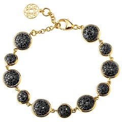 Syna Yellow Gold Reversible Bracelet with Black and Champagne Diamonds