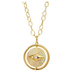Syna Yellow Gold Reversible Evil Eye Enamel Pendant with Champagne Diamonds