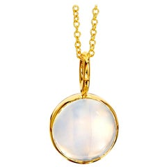 Syna Yellow Gold Reversible Pendant with Blue Topaz and Moon Quartz