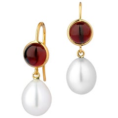 Syna Yellow Gold Rhodolite Garnet and South Sea Pearl Earrings