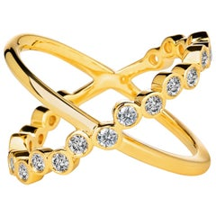Syna Yellow Gold Ring with Bright Champagne Diamonds