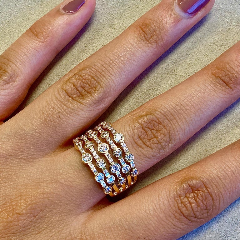 Contemporary Syna Yellow Gold Ring with Champagne Diamonds For Sale