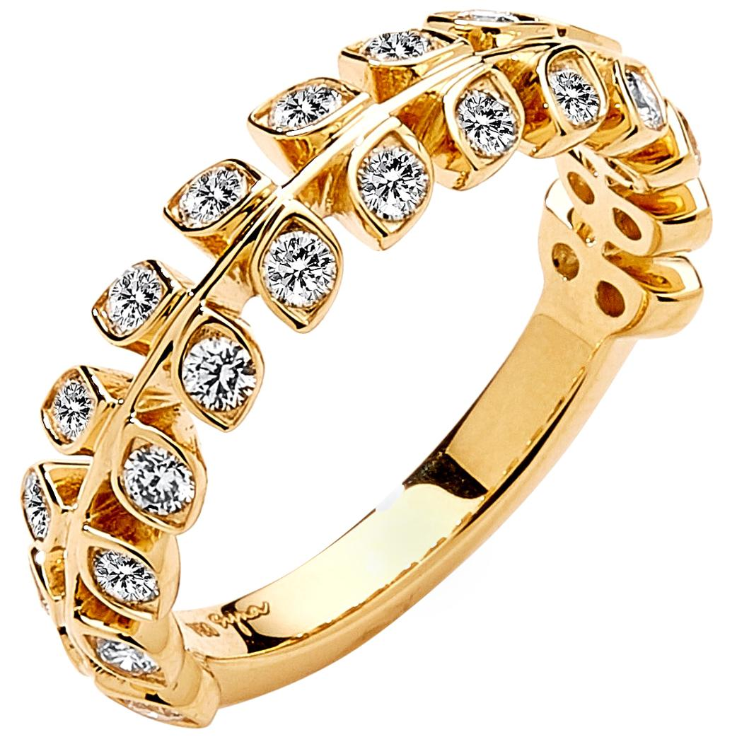 Syna Yellow Gold Ring with Champagne Diamonds