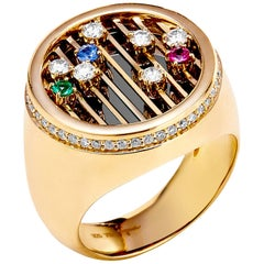 Syna Yellow Gold Ring with Emerald, Ruby, Sapphire and Champagne Diamonds