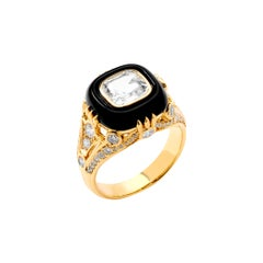 Syna Yellow Gold Ring with Rock Crystal, Black Onyx and Champagne Diamonds