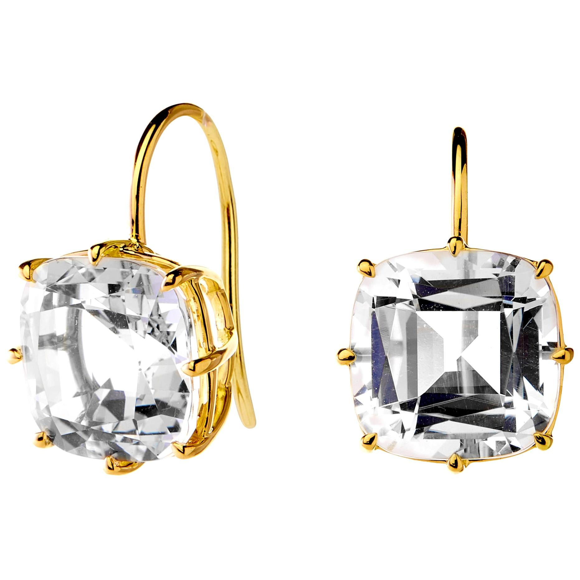 Syna Yellow Gold Rock Crystal Cushion Earrings