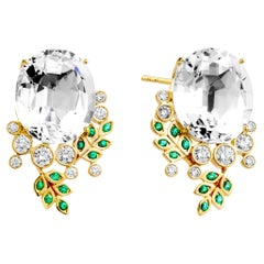 Syna Yellow Gold Rock Crystal Earrings with Emeralds and Champagne Diamonds