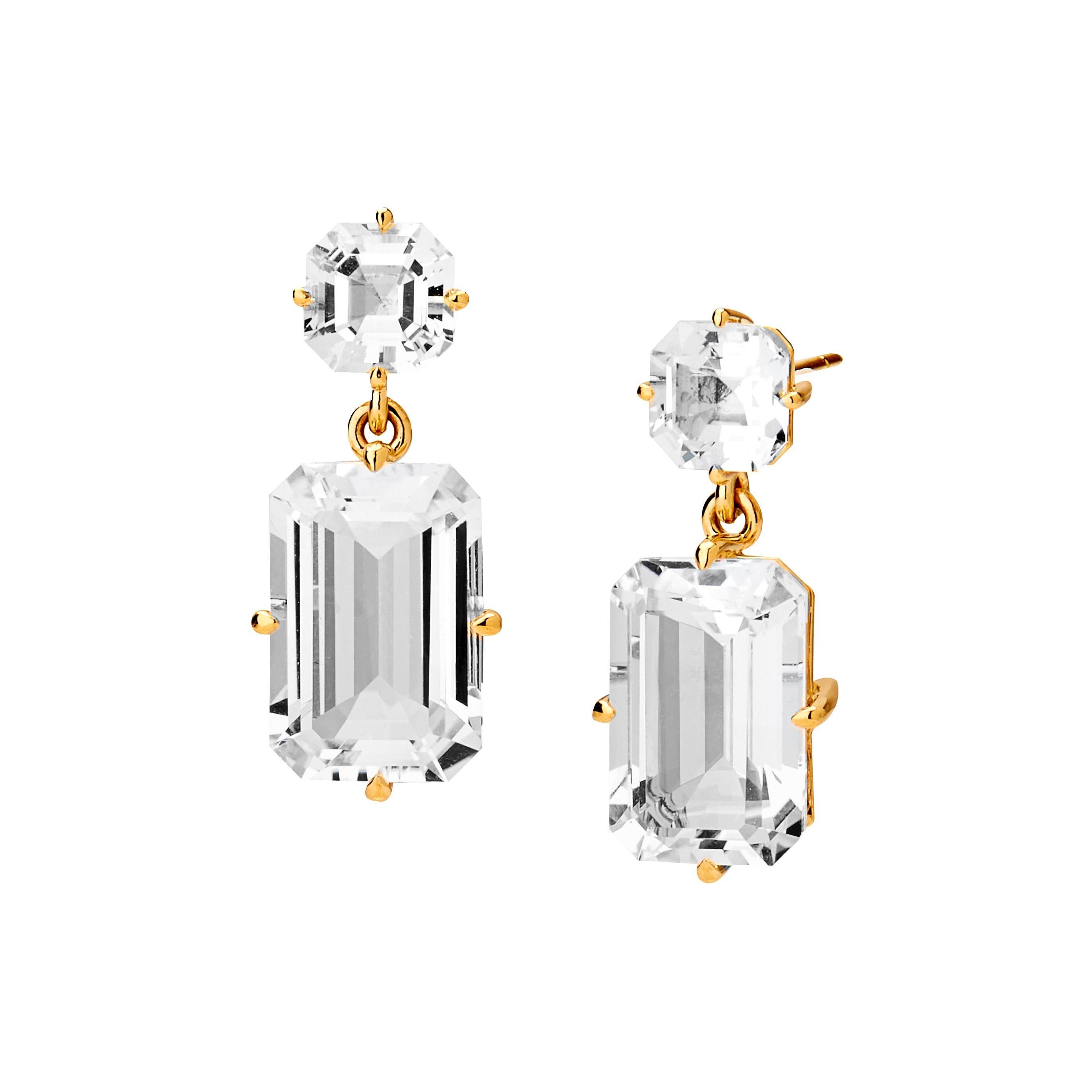 Syna Yellow Gold Rock Crystal Geometrix Earrings