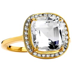 Syna Yellow Gold Rock Crystal Ring with Champagne Diamonds