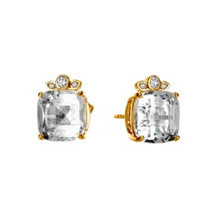 Syna Yellow Gold Rock Crystal with Champagne Diamond Earrings