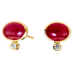 Syna Yellow Gold Ruby Earrings with Champagne Diamond