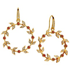 Syna Yellow Gold Ruby Twine Earrings with Champagne Diamonds