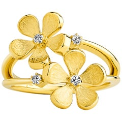 Syna Yellow Gold Satin Finish Flower Ring with Champagne Diamonds