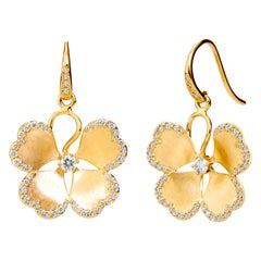 Syna Yellow Gold Satin Flower Earrings with Champagne Diamonds