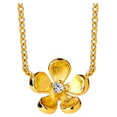 Syna Yellow Gold Satin Flower Necklace with Champagne Diamonds
