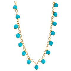 Syna Yellow Gold Sleeping Beauty Turquoise Bead Necklace