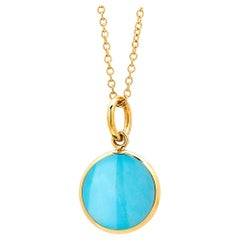 Syna Yellow Gold Sleeping Beauty Turquoise Chakra Charm Pendant