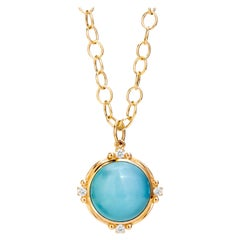 Syna Yellow Gold Sleeping Beauty Turquoise Pendant with Champagne Diamonds