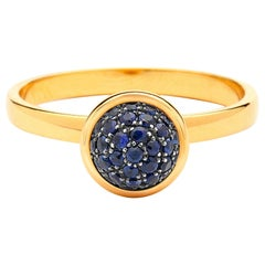 Syna Yellow Gold Small Blue Sapphire Pave Ring