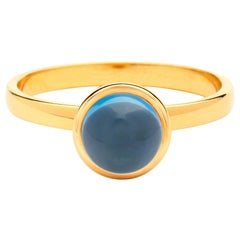 Syna Yellow Gold Small London Blue Topaz Ring