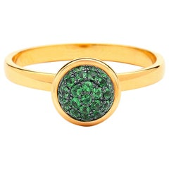 Syna Yellow Gold Small Tsavorite Pave Ring