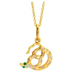 Syna Yellow Gold Snake Pendant with Emeralds and Champagne Diamonds