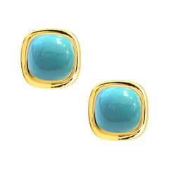 Syna Yellow Gold Sugarloaf Sleeping Beauty Turquoise Earrings