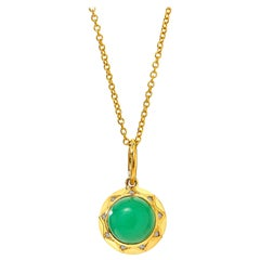 Syna Yellow Gold Sun Pendant with Chrysoprase and Champagne Diamonds