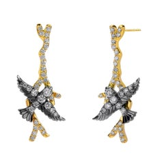 Syna Yellow Gold Swallow Earrings with Champagne Diamonds