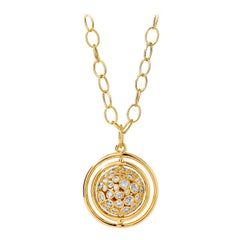 Syna Yellow Gold Swivel Pendant with Champagne Diamonds