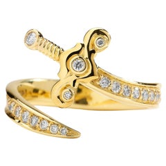 Syna Yellow Gold Sword Ring with Bright Champagne Diamonds