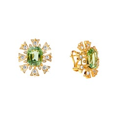 Syna Yellow Gold Tourmaline Earrings with Champagne Diamonds