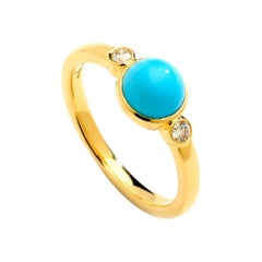 Syna Yellow Gold Turquoise and Champagne Diamond Ring