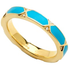 Syna Yellow Gold Turquoise Blue Enamel Ring with Diamonds