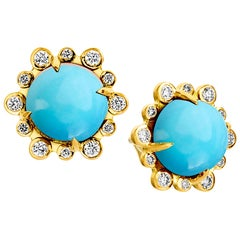 Syna Yellow Gold Turquoise Earrings with Champagne Diamonds