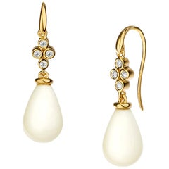 Syna Yellow Gold White Agate Drop Earrings with Champagne Diamonds